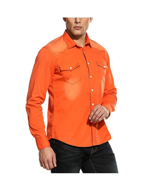 Mens Casual Contrast Long Sleeve Button Down Dress...
