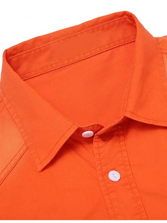 Mens Casual Contrast Long Sleeve Button Down Dress Shirts