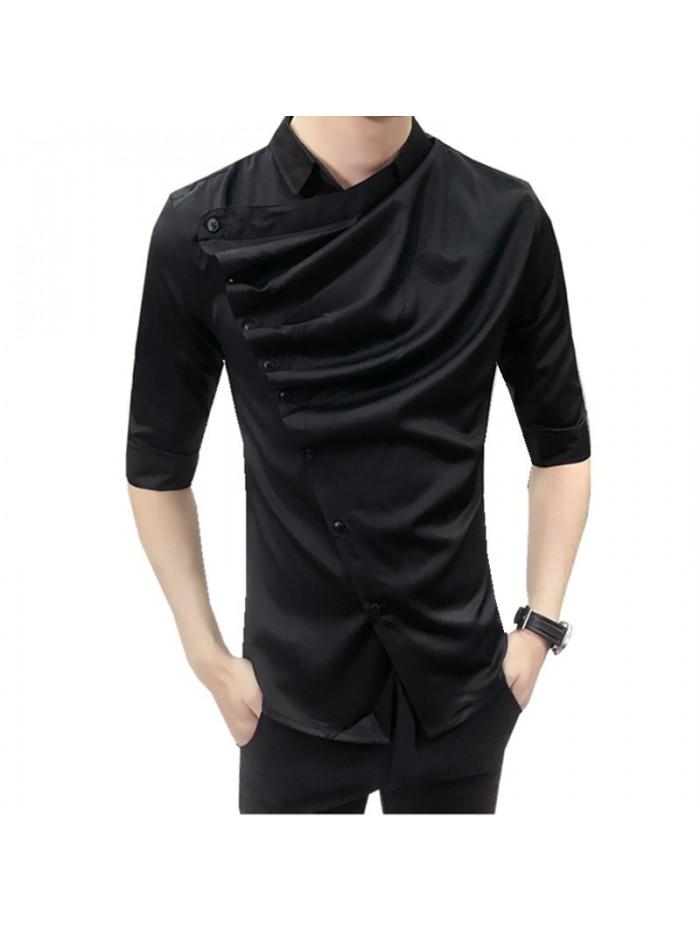 Summer Gothic Shirt Ruffle Designer Collar Shirt Black And White Korean Men Fashion Clothing Prom Party Club Even Shirts