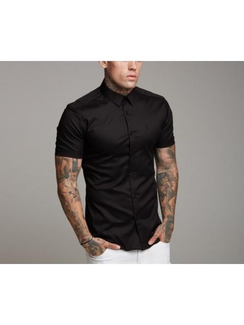 Loose Size Men Shirts Black white 100% Cotton Shor...