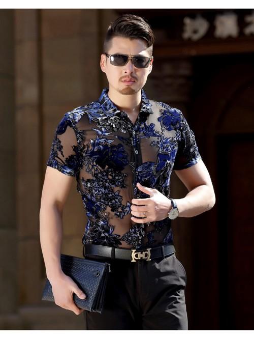 Silk Transparent Floral Shirt Short Sleeve See Thr...