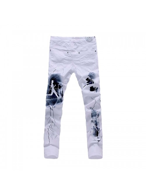 White 3D Printed Men Jeans Unique Lighting Man Bik...