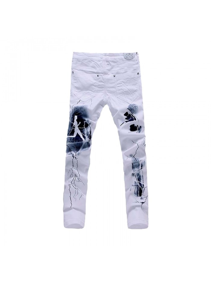 White 3D Printed Men Jeans Unique Lighting Man Biker Printing Cotton Skinny Jeans For Men Denim Pants