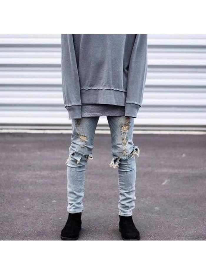 Skinny Ripped Jeans For Men Male Motorcycle  Jeans