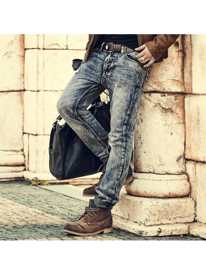 Mens Retro ripped jeans mens solid Washing denim jeans new Korean style casual trousers stretch man denim pants100% Cotton