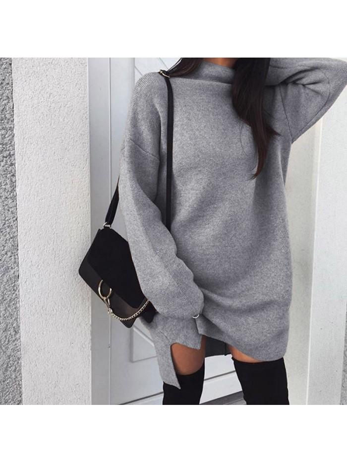 Autumn Winter Knitted Dress Women Turtleneck Long Sleeve Warm Sweater Dress Casual Solid Loose Mini Dresses