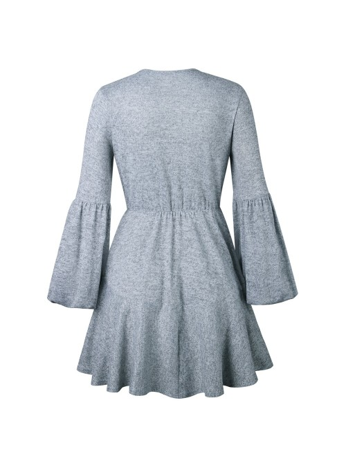 Women V Neck Ruffle Knitted Sweater Dress Autumn W...
