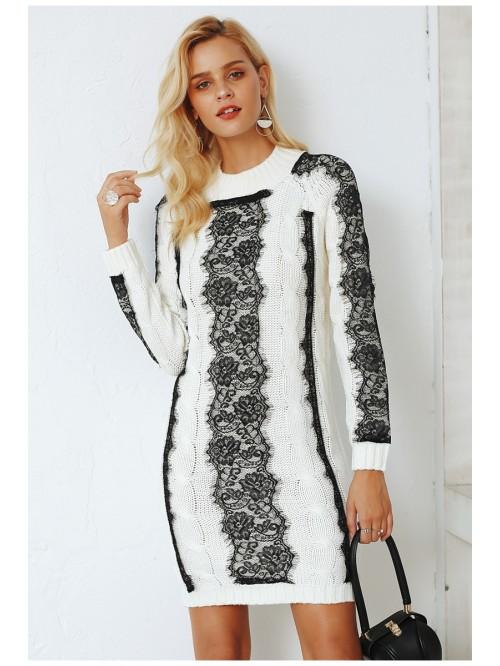Neck twist knitted sweater dress women Elegant lac...