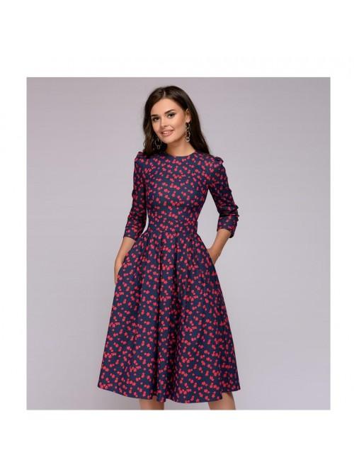 Women Dress 2018 Vintage printing party Three Quar...