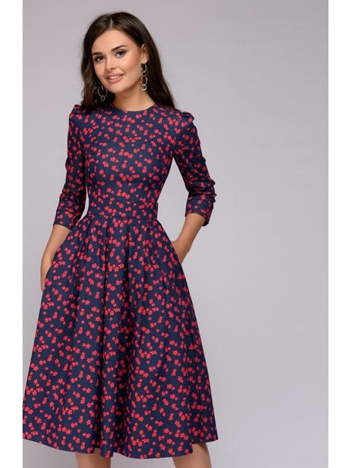 Women Dress 2018 Vintage printing party Three Quarter Sleeve women Autumn Dress