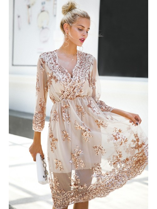 V Neck Long Sleeve Sequin Party Dresses Women Sexy...