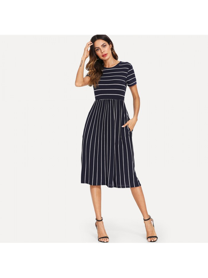 Navy Elegant Round Neck Short Sleeve Mixed Stripe Natural Waist Smock Dress Summer Women Weekend Casual Dresses