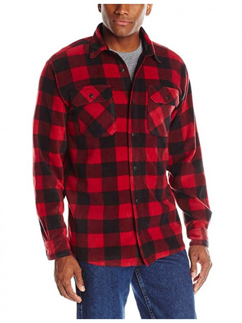 Men's Long Sleeve Plaid Fleece Shirt