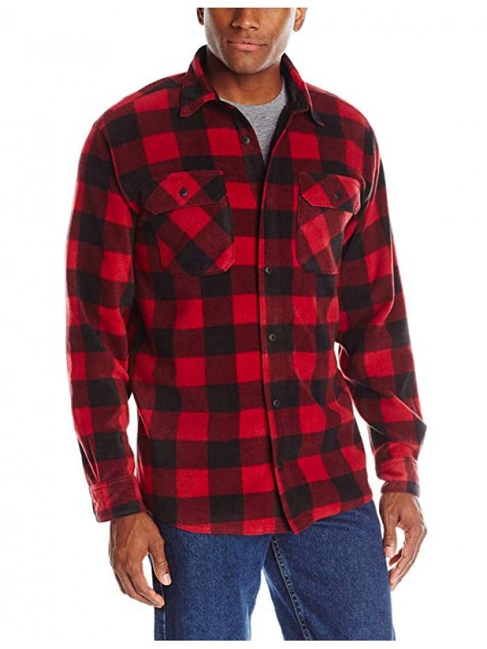 Men's Long Sleeve Plaid Fleece Shirt