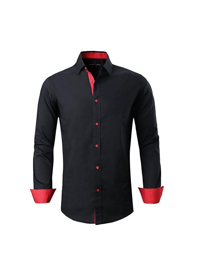Mens Dress Shirts Regular Fit Long Sleeve Men Shirt