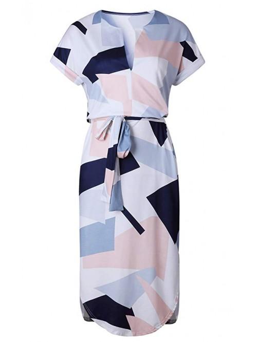Womens Dresses Summer Casual V-Neck Floral Print G...