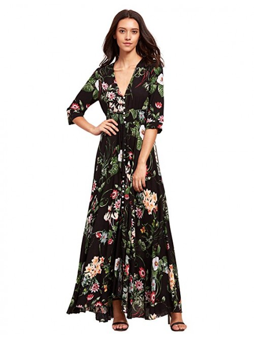 Women's Button up Split Floral Print Flowy Party M...