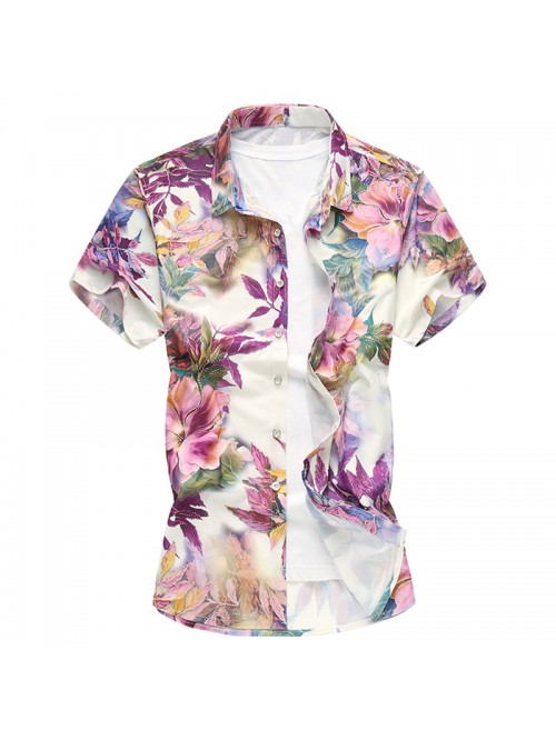 New Floral Print Hawaiian Casual Shirt Brand Cloth...