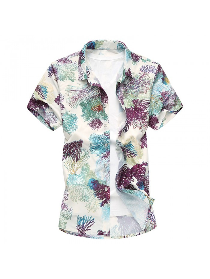 New Floral Print Hawaiian Casual Shirt Brand Clothing Short Sleeve Men Shirt
