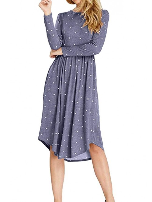 Women Long Sleeve Pleated Polka Dot Pocket Swing C...
