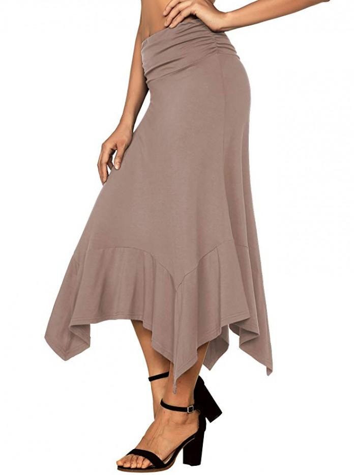 Women's Flowy Handkerchief Hemline Skirt
