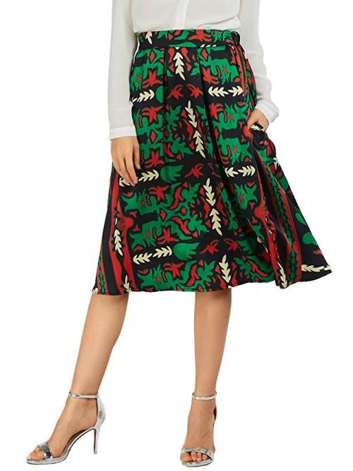 Women's Flared A line Pocket Skirt High Waist Plea...