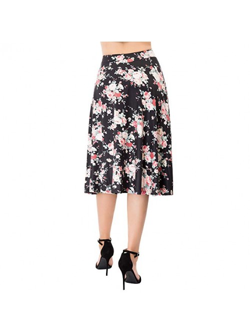 Flared Stretchy Midi Skirt High Waist Jersey Skirt...