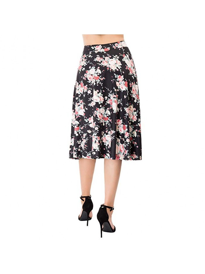 Flared Stretchy Midi Skirt High Waist Jersey Skirt Women
