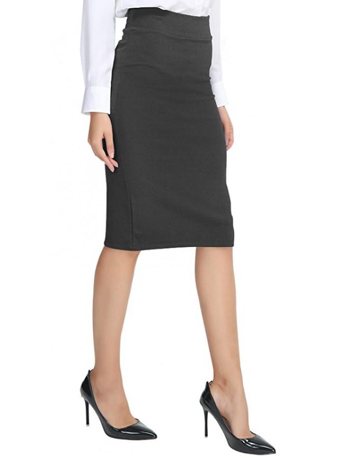 Women's Elastic Waist Stretch Pencil Skirt