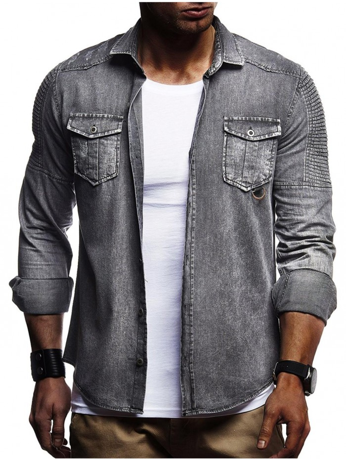 Men Washed Shirts Long Sleeves Slim Fit Jean Shirts For Men Cowboy Tees Tops Classic Casual Outerwear