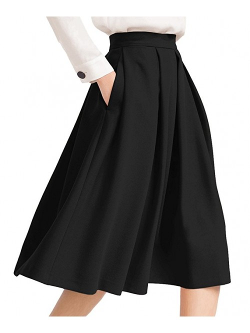 Women's High Waist Flared Skirt Pleated Midi Skirt...