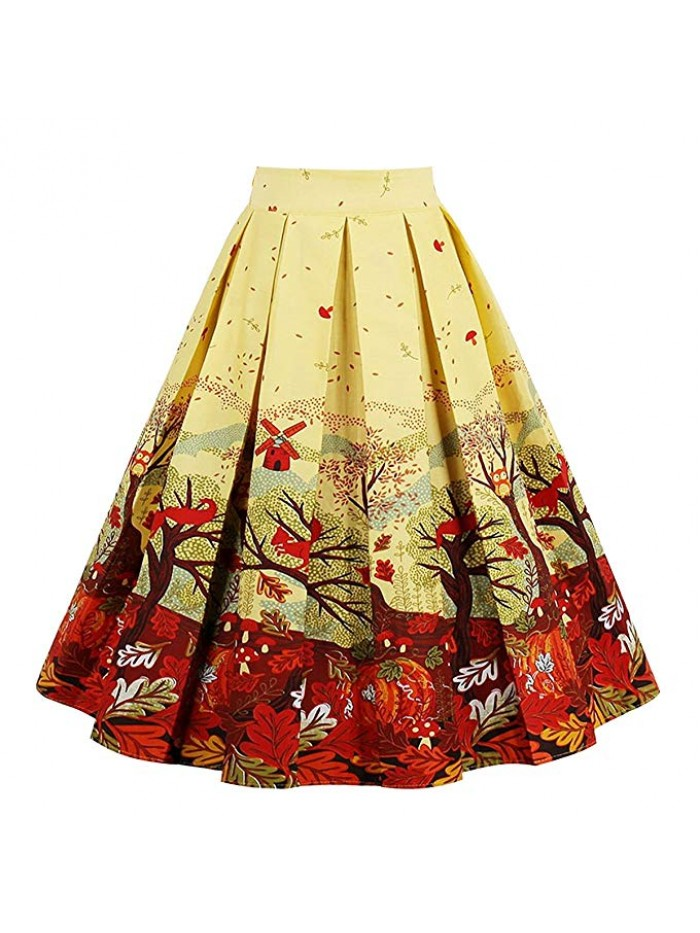 Women's Pleated Vintage Skirt Floral Print A-line Skirts with Pockets