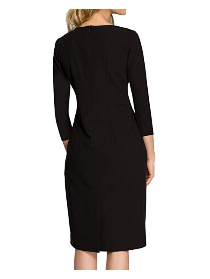 Women Short Sleeve Formal Party Work Business Office Sheath Dress