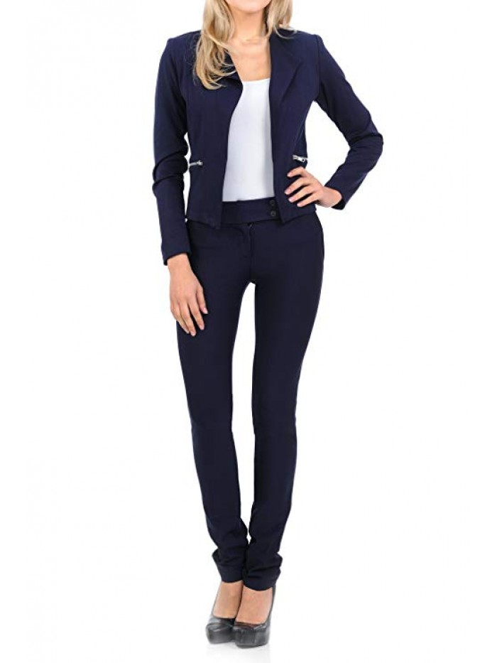 Womens Classic Wear to Work Solid Pants Suit