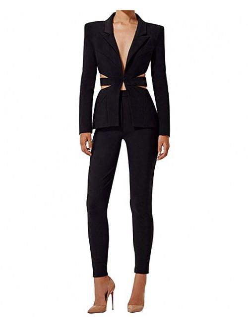 Women's Cut Out 2 Pieces Slim Fit Blazer Jacket Pa...