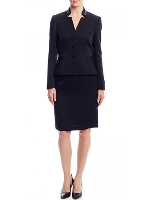 Embellished Lapel Skirt Suit